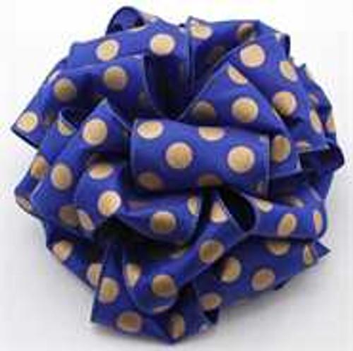 Royal and Gold Polka Dot Wired Ribbon