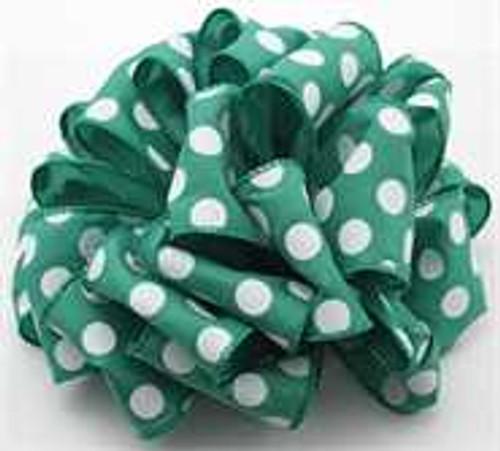 Emerald White Dot Wired Ribbon
