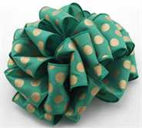 Gold/Emerald Dot Wired Ribbon