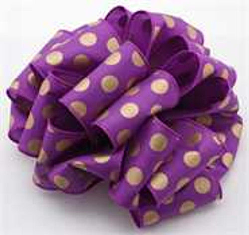 Gold and Purple Dot Wired Ribbon