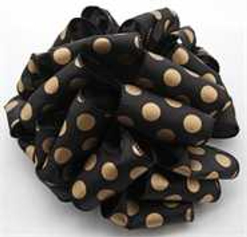 Gold/Black Dot Wired Ribbon