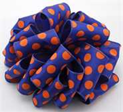 Orange/Blue Dot Wired Ribbon