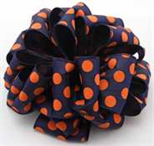 Orange and Navy Dot Wired Ribbon