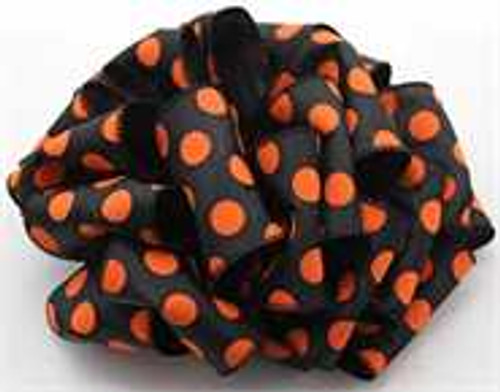 Orange and Black Dot Wired Ribbon