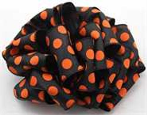 Orange/Black Dot Wired Ribbon