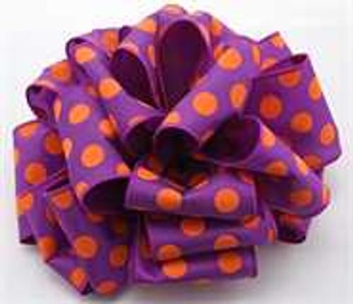 Purple/Orange Dot Wired Ribbon