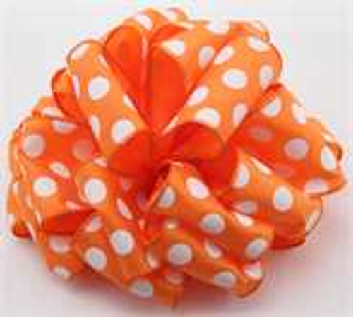 Orange  White Dot Wired Ribbon