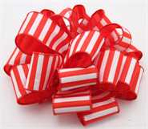 Red White Striped Wired Ribbon