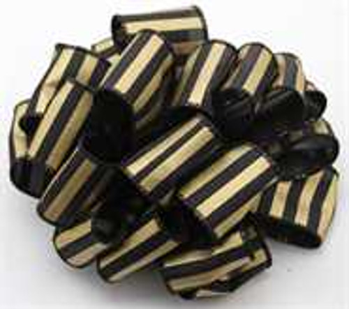 Gold and Black Striped Wired Ribbon
