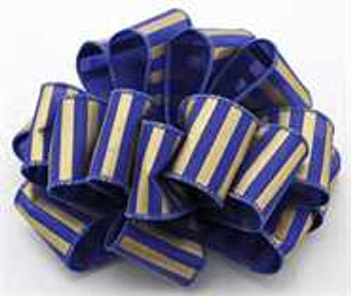 Royal and Gold Striped Wired Ribbon