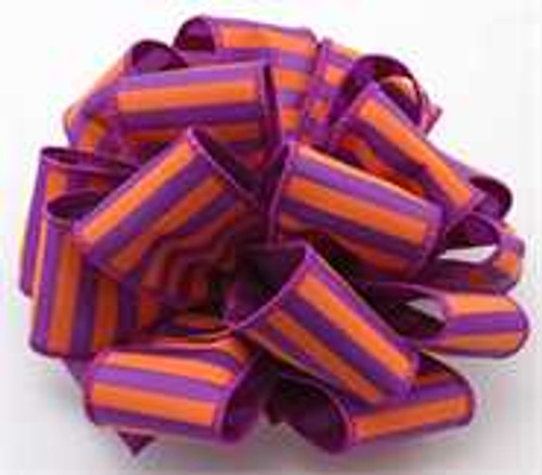 Purple and Orange Striped Wired Ribbon