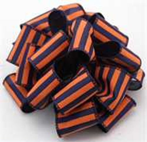 Orange and Navy Striped Wired Ribbon