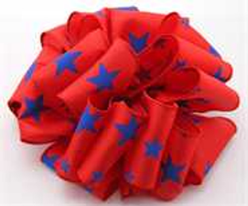 Blue and Red Star Wired Ribbon