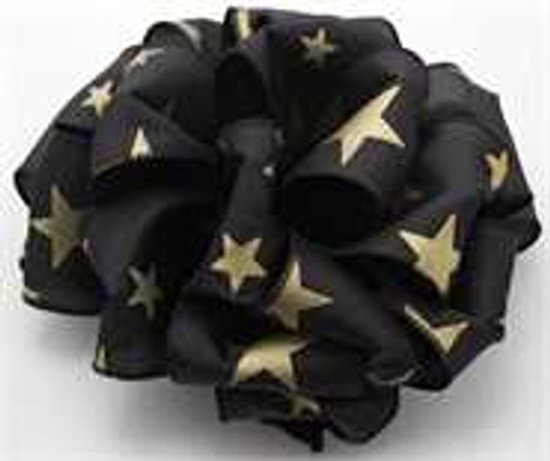 Gold and Black Star Wired Ribbon