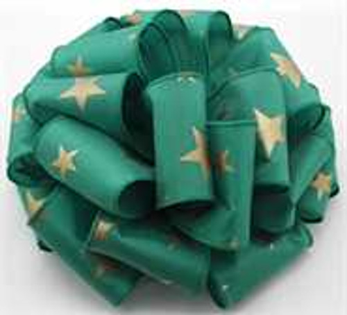 Gold and Emerald Star Wired Ribbon
