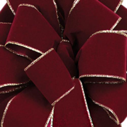 Burgundy Noble Wired Velvet Ribbon
