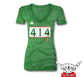 Hey Milwaukee Irish. Here's your 414 Milwaukee V-NECK t-shirt. VEveryone will kiss you when you wear this shirt. 60% 40% vintage soft combed cotton, fashion fit 3.9oz shirt.