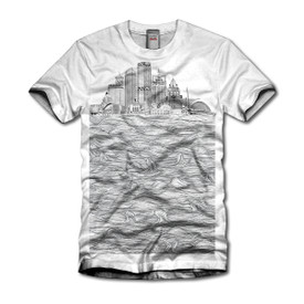 Women's Milwaukee skyline tri-blend white shirt with black ink.