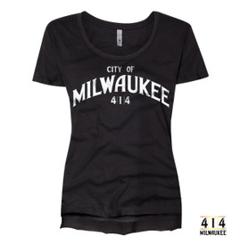 In honor of Milwaukee Day, we are commentating the unfurling of the giant 414 Flag from City Hall with this vintage soft. t-shirt. 3.5 oz., 65% Poly/ 35% Combed Ring-Spun Cotton, 40 single 1x1 baby rib Hemmed sleeve Side seamed Raw edge, exaggerated tail drop hem.