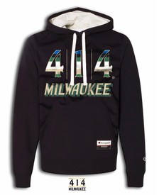 """Proud to announce the 414 Milwaukee Basketball Rainbow collection. This is a tribute shirt to the proud history and the future of the Milwaukee Bucks. The current rainbow features a vibrant color pattern symbolizing the city of the future . Be proud of the city of Milwaukee and its basketball team. 8.5 oz., 80/20 ringspun cotton/polyester 3-end 100% cotton fleece face 2x2 rib cuffs and waistband Jersey-lined oatmeal heather hood Button hole eyelets with natural flat woven drawcord with turned and tacked ends Triple-needle stitching throughout Champion """"C"""" logo patch on left sleeve and jock tag on front pouch pocket."""