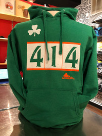 Hey Milwaukee Irish. Here's your 414 Milwaukee hoodie. Everyone will kiss you when you wear this shirt. 80% vintage soft combed cotton, 20% polyester 8.oz