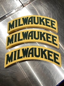 """The Milwaukee Arch 100% wool patch is W 14"""" x H 5.5"""" Green and Cream. Embroidered chenille wool on cream felt. Apply to your favorite hoodie or jacket."""