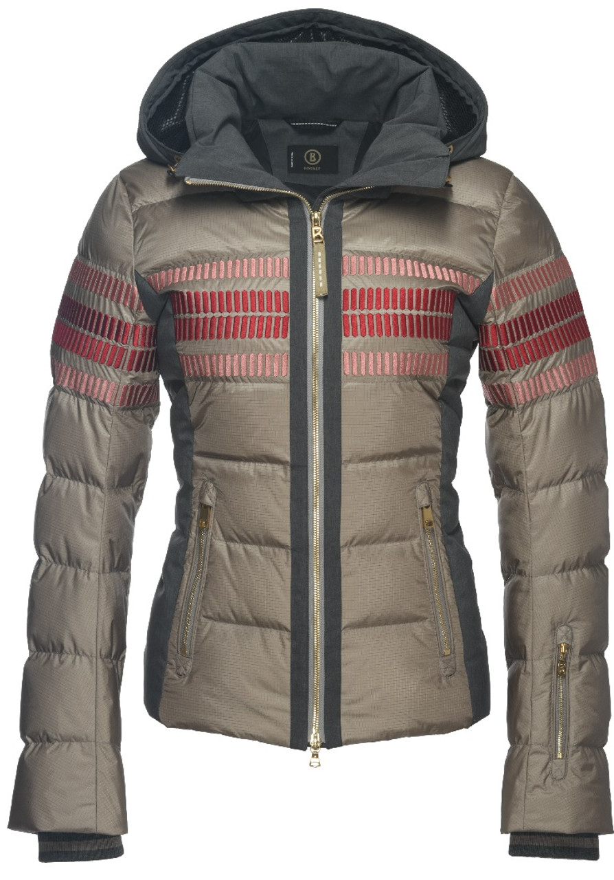 Bogner Yara-D Women's Ski Jacket | 316619 in Wet Sand tan with a red stripe