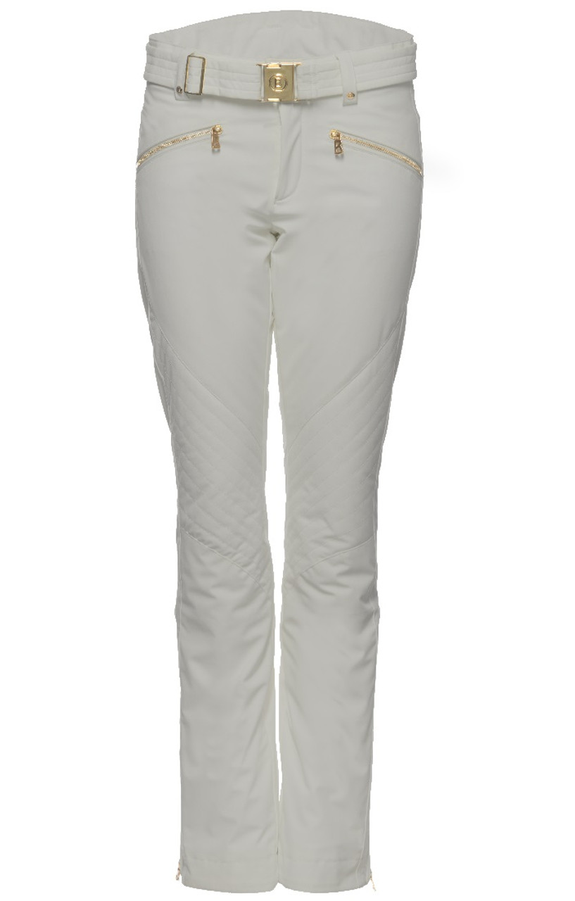 Bogner Franzi-2 Women's Ski Pants | 115719 in a Soft Grey with Gold hardware