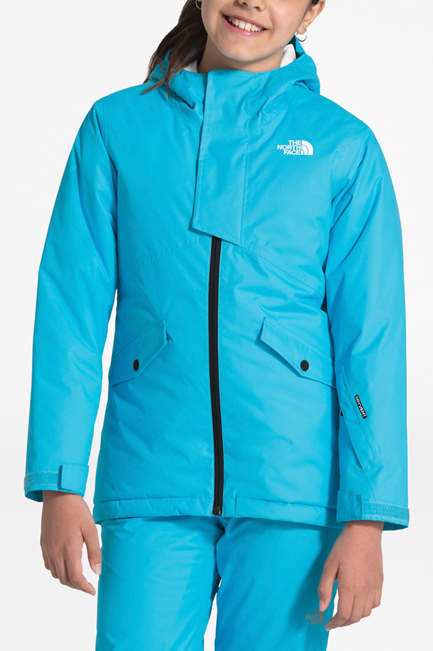 The North Face Freedom Insulated Jacket | Girl's | Turquoise Blue | Front