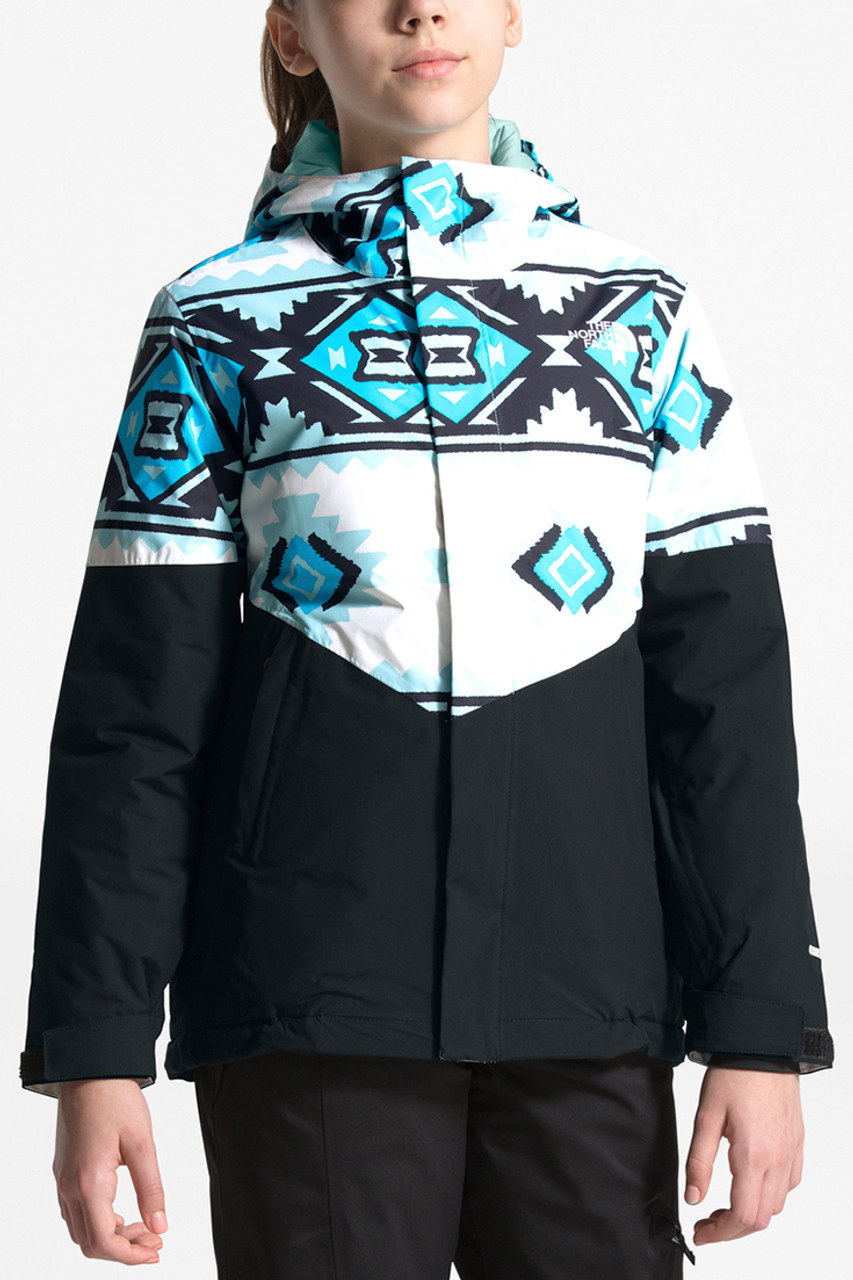The North Face Brianna Insulated Jacket | Girl's | White Tribal Geo Print | Front