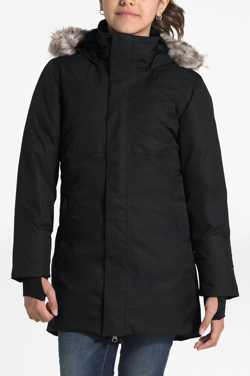 The North Face Arctic Swirl Down Jacket | Girl's | TNF Black | Front