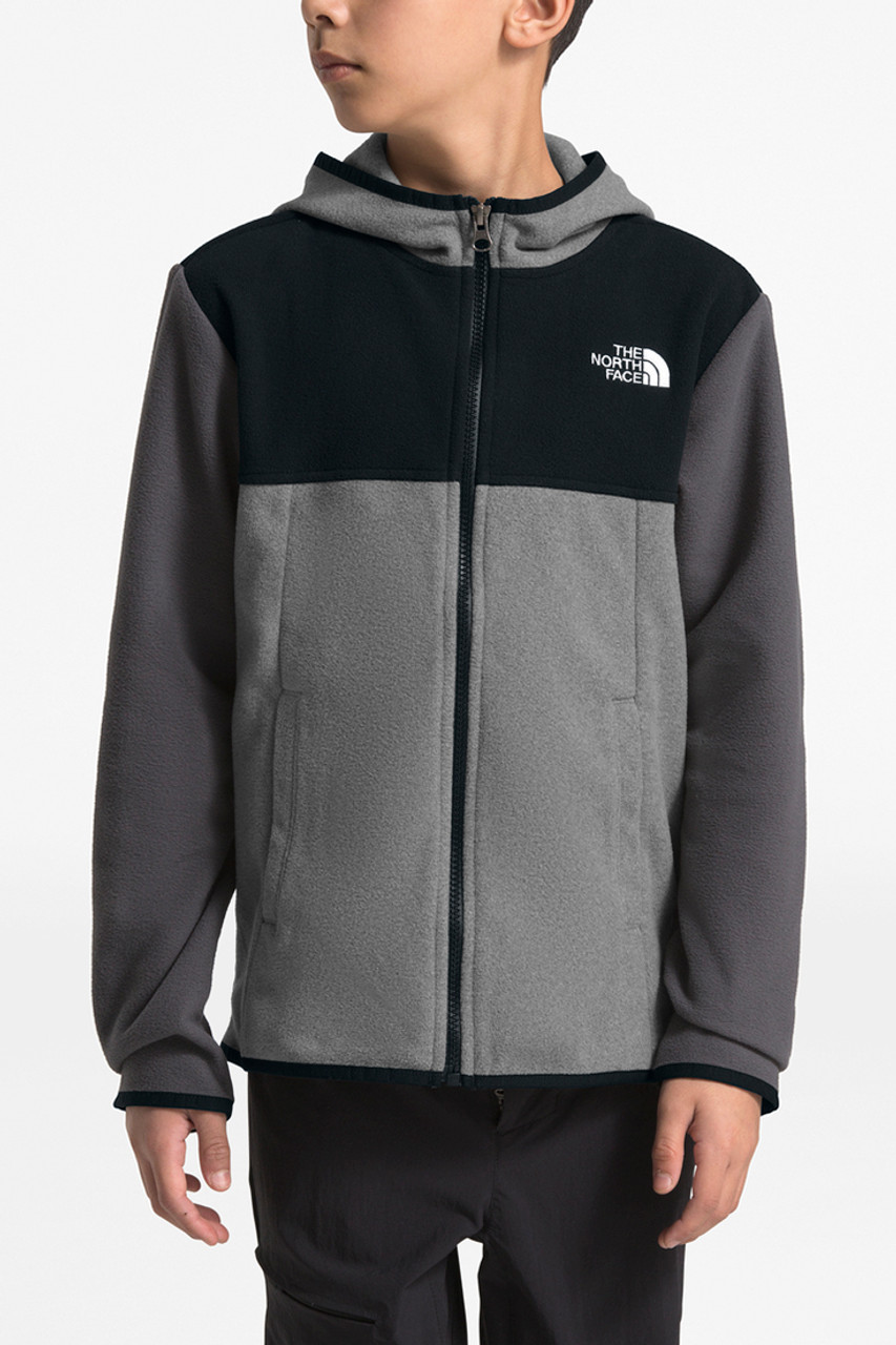 The North Face Glacier Full Zip Hoodie | Boy's | TNF Medium Grey Heather | Front