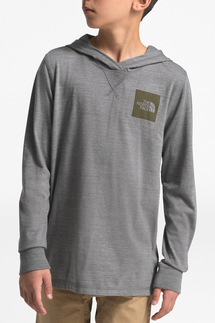 The North Face Tri-Blend Pullover Hoodie | Boy's | TNF Medium Grey Heather/New Taupe Green| Front