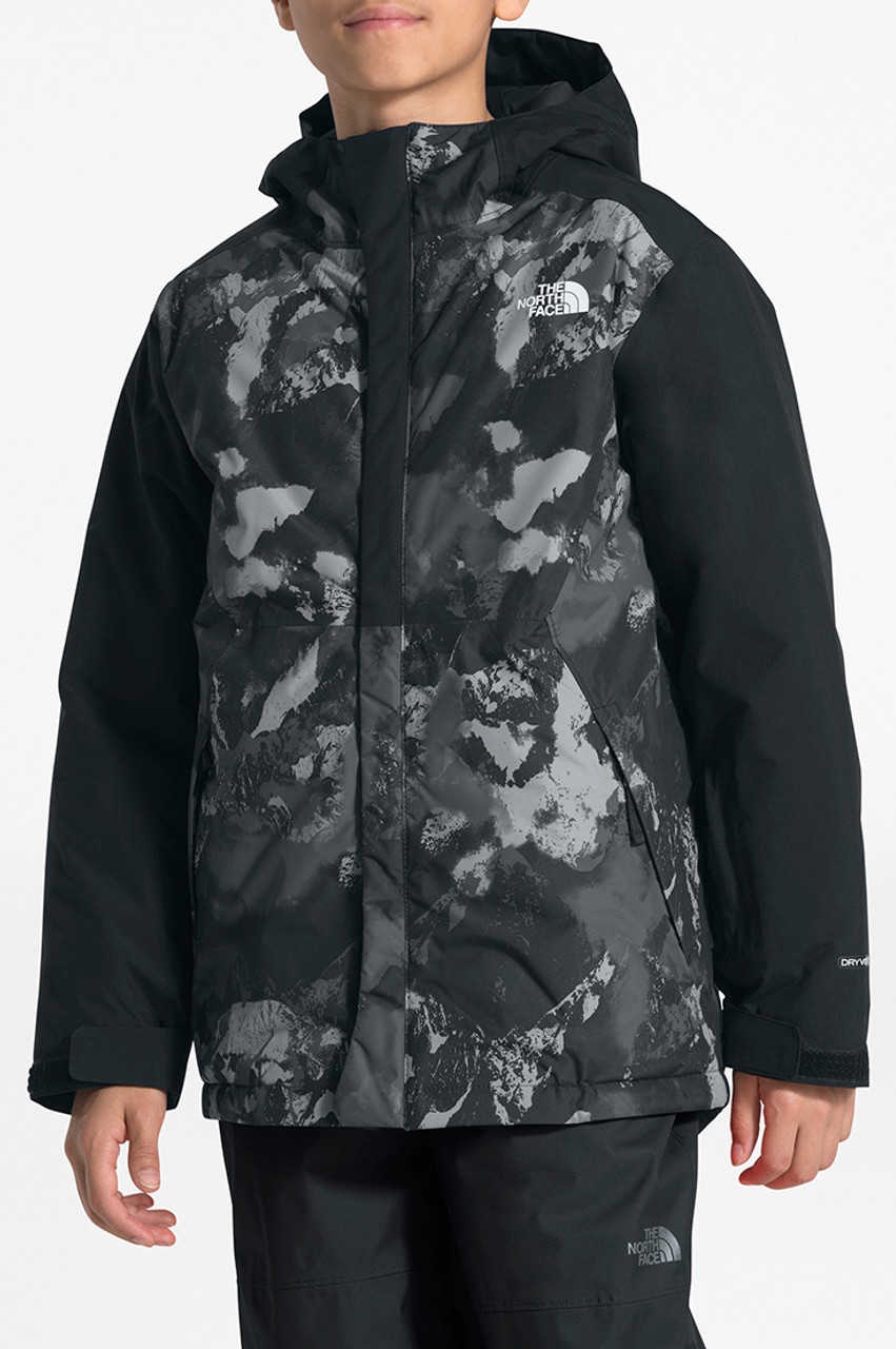 The North Face Brayden Insulated Jacket | Boy's | Black Mtn Scape Prnt | Front