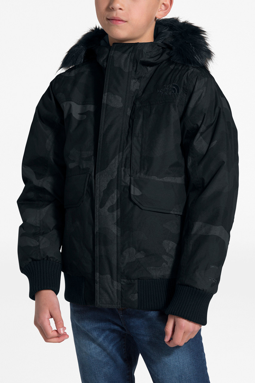 The North Face Gotham Down Jacket | Boy's | TNF Black Waxed Camo Print | Front