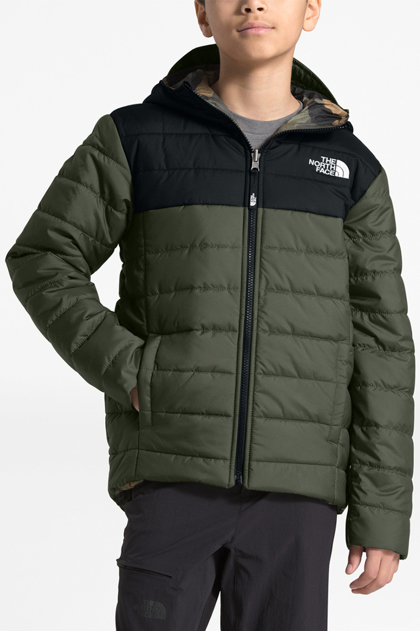 The North Face Reversible Perrito Jacket | Boys | New Taupe Green/TNF Black | Front