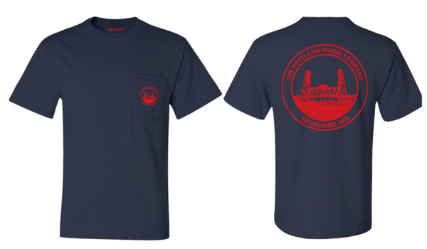 Badge Pocket Tee (Navy+Red)
