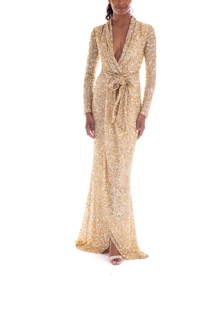Gold V-Neck Long Sleeve Sequin Gown - Front