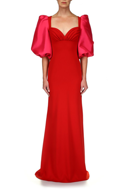 Red Fuchsia Odessa Fitted Gown With Balloon Sleeves - Front