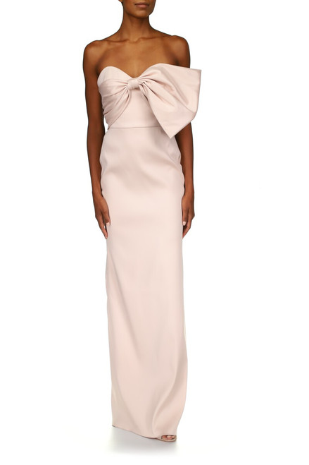 Peony Strapless Mikado Bow Gown- Front