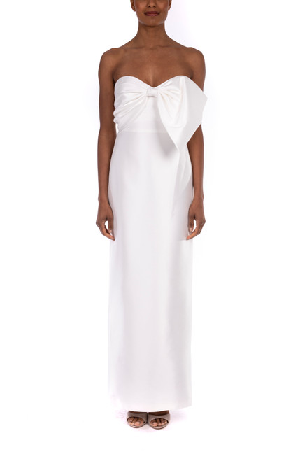 White Strapless Mikado Bow Gown- Front