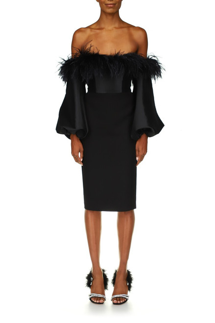 Black Feather Trim Off-The-Shoulder Cocktail Dress - Front