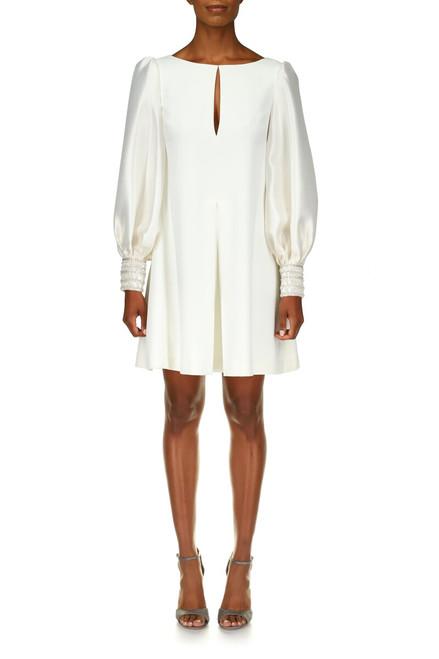 Light Ivory Mikado Silk Beaded Cuff Cocktail Dress - Front