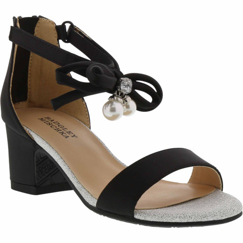 Black Pernia Pearl Bow Girls' Shoe Front