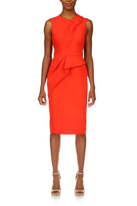 Poppy Crepe Buckle Front Day Dress Front