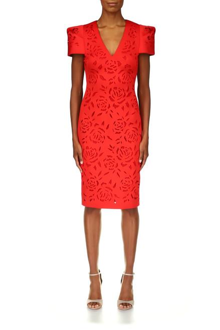 Bright Siam Scuba V Neck Day Dress Front