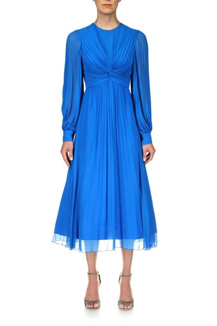 Capri Blue Georgette Pleated Dress Front