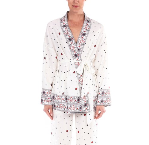 Ivory Multi Printed Crepe de Chine Boarder Jacket Front