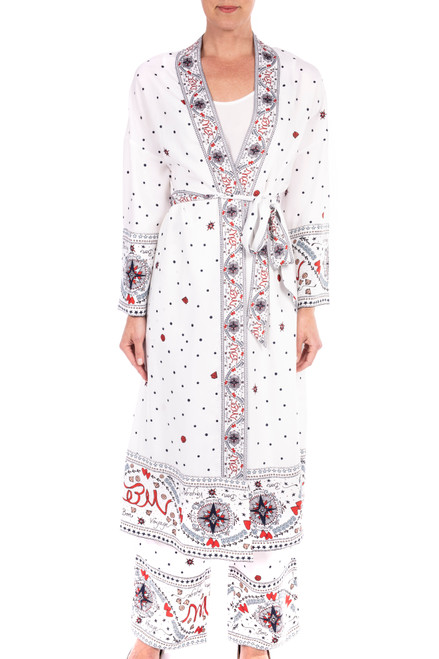 Ivory Multi Georgette Printed Duster Front