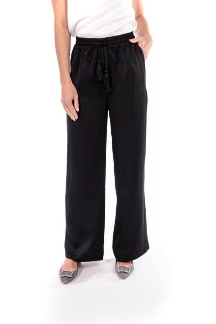 Black Satin Drawstring Pant Front